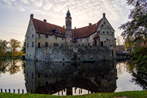Images Germany Castles Pond Reflection Stairs Vischering Castle Cities