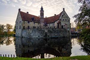 桌面壁纸,,德国,城堡,池塘,倒影,楼梯,Vischering Castle,城市
