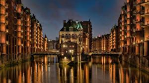 Hintergrundbilder Deutschland Hamburg Haus Brücke Kanal Wasserschloss