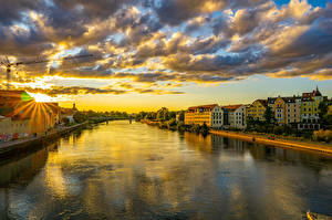 Image Germany Houses Rivers Sunrises and sunsets Bavaria Clouds Regensburg Cities