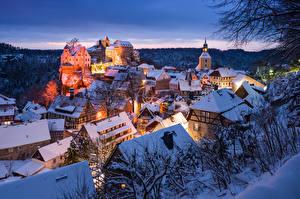 Fotos Deutschland Winter Abend Gebäude Burg Kirchengebäude Schnee Hohnstein