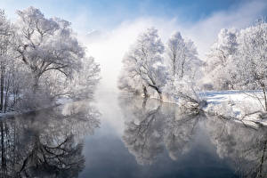 Wallpaper Germany Winter Rivers Bavaria Trees Reflected Snow