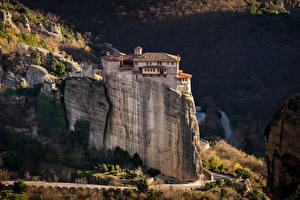桌面壁纸,,希腊,建筑物,僧院,岩,Monastery Rousanou, Meteora,