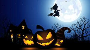 Photo Halloween Houses Pumpkin Witch Silhouettes Moon Night