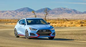 Image Hyundai Front Light Blue Driving Hatchback, Veloster N, US-spec, 2018 automobile