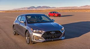 Papel de Parede Desktop Hyundai Cinza Vermelho Hatchback, Veloster, US-spec, 2018 Carros