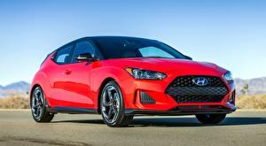 Papel de Parede Desktop Hyundai Vermelho Asfalto Veloster, Turbo, US-spec, 2018 Carros