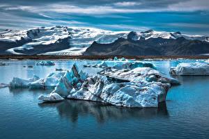 Papéis de parede Islândia Lago Montanhas Gelo  Naturaleza imagens