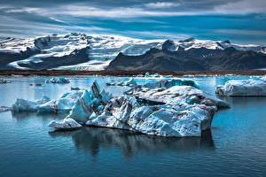 Pictures Iceland Lake Mountains Ice
