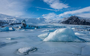 Images Iceland Mountains Lake Ice  Nature