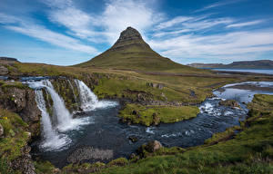 Picture Iceland Mountain Waterfalls Landscape photography Kirkjufell, Kirkjufoss Nature