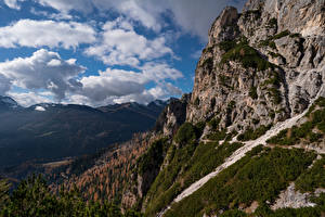 Desktop wallpapers Italy Mountains Cliff Clouds Dolomites, South Tyrol Nature