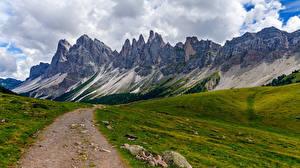 Bilder Italien Berg Väg Alperna Molnen Trentino-Alto Adige, Dolomites Natur bilder
