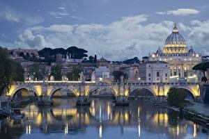 Fotos Italien Rom Tempel Abend Fluss Brücken Kirche Haus San Pietro Städte