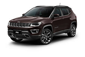 Desktop wallpapers Jeep Brown Metallic White background Crossover Compass S Latam (MP), 2019 -- Cars