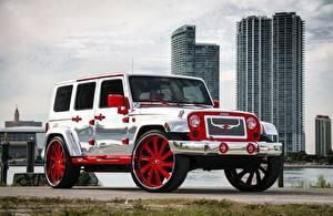bilder Jeep Tuning Sølv farge Wrangler Biler bilder skrivebordsbakgrunn