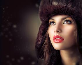 Pictures Winter hat Staring Makeup Red lips Face Model Judy Wilkins