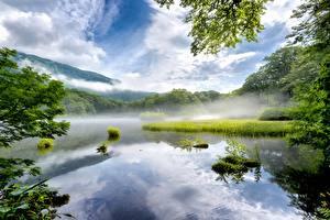 Fotos See Japan Nebel Nara Prefecture Natur