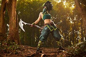 Hintergrundbilder League of Legends Posiert Pose Streitaxt Cosplay Junge frau Akali Mädchens Fantasy