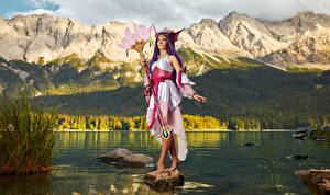 Wallpapers LOL Mikhail Davydov photographer Mountains Posing Glance Cosplay Dress Mage Staff Splendid Staff Nami female Fantasy