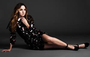 Photo Gray background Brown haired Hands Gown Legs High heels Liana Liberato Girls