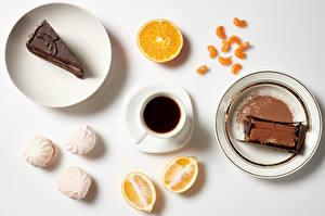 Papéis de parede Pequeno bolo Café Zefir Laranja (fruta) Chocolate Fundo cinza Desjejum Prato Chávena Cacau em pó Alimentos imagens