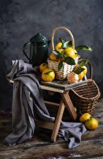 Fonds d'écran Mandarinier Bouilloire Panier en osier Nourriture