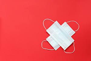 デスクトップの壁紙、、仮面、冠狀病毒病、赤の背景、テンプレートグリーティングカード、