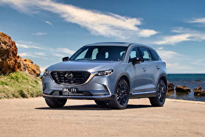 Hintergrundbilder Mazda Crossover Graues Metallisch CX-9 GT SP, AU-spec, 2021 auto