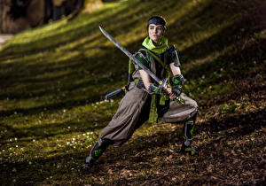 Pictures Mikhail Davydov photographer Overwatch Posing Swords Staring Costume play Genj female Fantasy