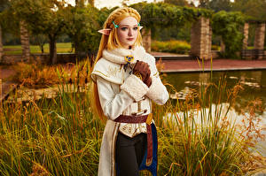 Desktop hintergrundbilder Mikhail Davydov photographer The Legend of Zelda Elfen Blick Blond Mädchen Zelda Mädchens Spiele Fantasy