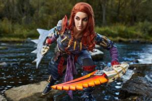 Wallpaper Monster Hunter Mikhail Davydov photographer River Pose Swords Staring Cosplayers Nargacuga Armor Girls Games