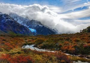 Fotos Berg Argentinien Gras Bäche Wolke Andes, Patagonia