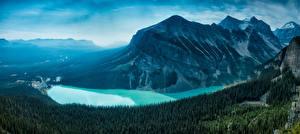 Image Mountains Canada Lake Forests Scenery Banff Lake Louise, Alberta, Canadian Rockies Nature