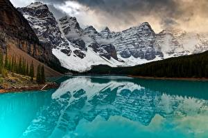 Images Mountains Lake Forest Parks Canada Reflection Banff lake Moraine, Alberta