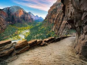 Bureaubladachtergronden Bergen Parken Verenigde staten Zion National Park klif landform Pad weg Utah