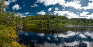 Images Norway Lake Clouds Reflected Holmevatn Nature