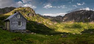 Fondos de escritorio Noruega Montaña Oveja Ovis orientalis aries Casa Naturaleza