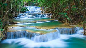 Wallpaper Parks Waterfalls Thailand Erawan Waterfall, Kanchanaburi Province, Erawan National Park