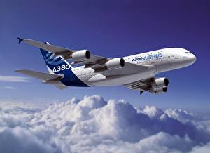 Bilder Flugzeuge Verkehrsflugzeug Airbus Wolke Flug A320