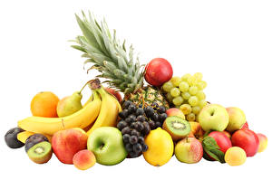 Picture Pineapples Grapes Apples Bananas Chinese gooseberry Lemons Pears Fruit White background
