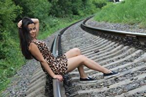 Bilder Schienen Brünette Sitzend Hand Kleid Bein Lächeln Mädchens