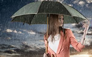 Fonds d'écran Pluie Montre bracelet Parapluie Aux cheveux bruns Main jeune femme