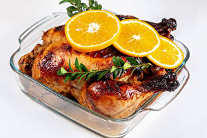Fonds d'écran Poulet rôti Orange fruit Fond blanc Nourriture