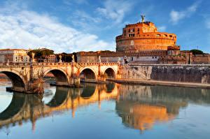 Fotos Rom Italien Flusse Brücken Skulpturen Burg Castel Sant'Angelo, Tiber