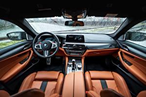 Bakgrundsbilder på skrivbordet Salons BMW Läder Ratten M5 V8 F90 2019 Bilar