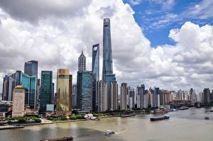 Desktop wallpapers Shanghai China Skyscrapers River Ships Megapolis Yangtze river Cities