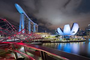 Wallpapers Singapore Bridge Night Marina Bay Cities
