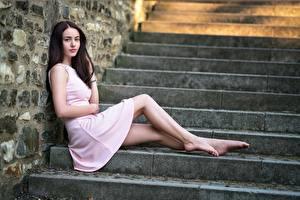 Hintergrundbilder Stiege Brünette Kleid Sitzt Bein Mädchens