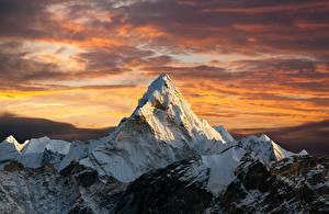 Desktop wallpapers Sunrises and sunsets Mountain Snow Everest, Nepal, Himalayas Nature